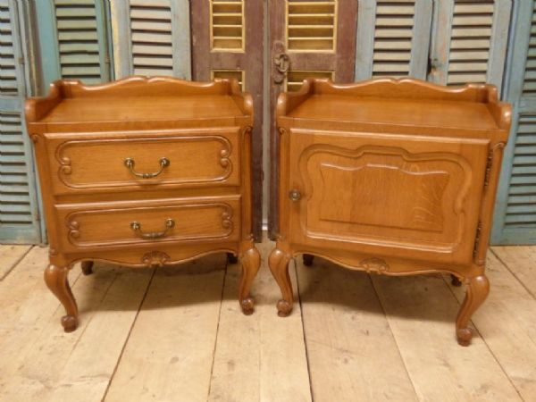 SOLD - Lovely Oak French Bedside Cabinets - jg76